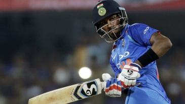 Hardik Pandya tucks the ball behind