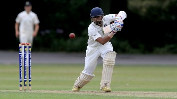 Prithvi Shaw drives the ball down the ground
