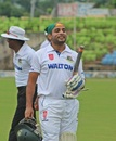 Tushar Imran walks back after being dismissed following his century, NCL, Dhaka, September 22, 2017
