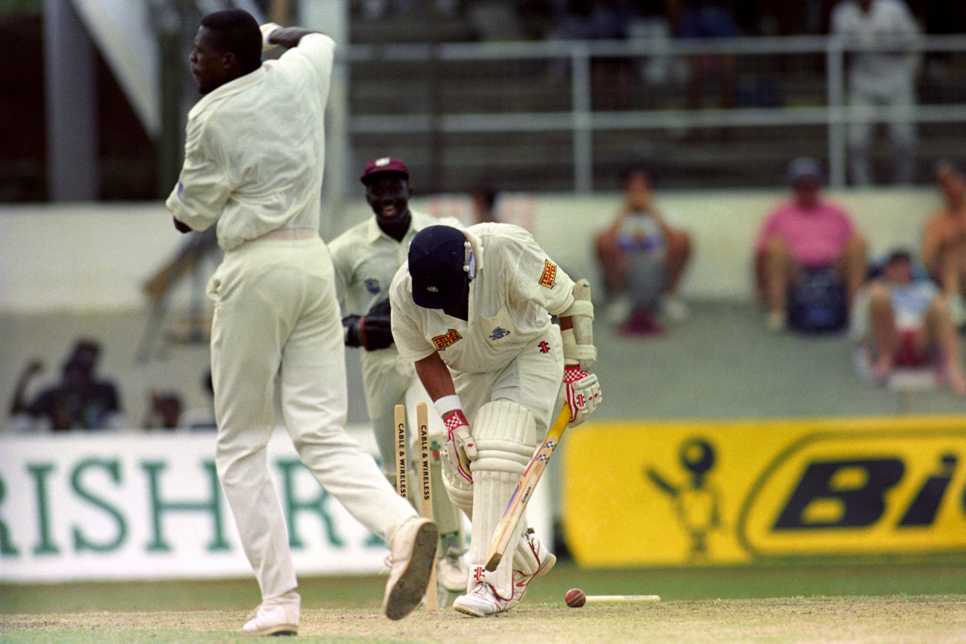 Carnage merchant: Ambrose takes the third wicket in his 6 for 24 in Port-of-Spain in 1994