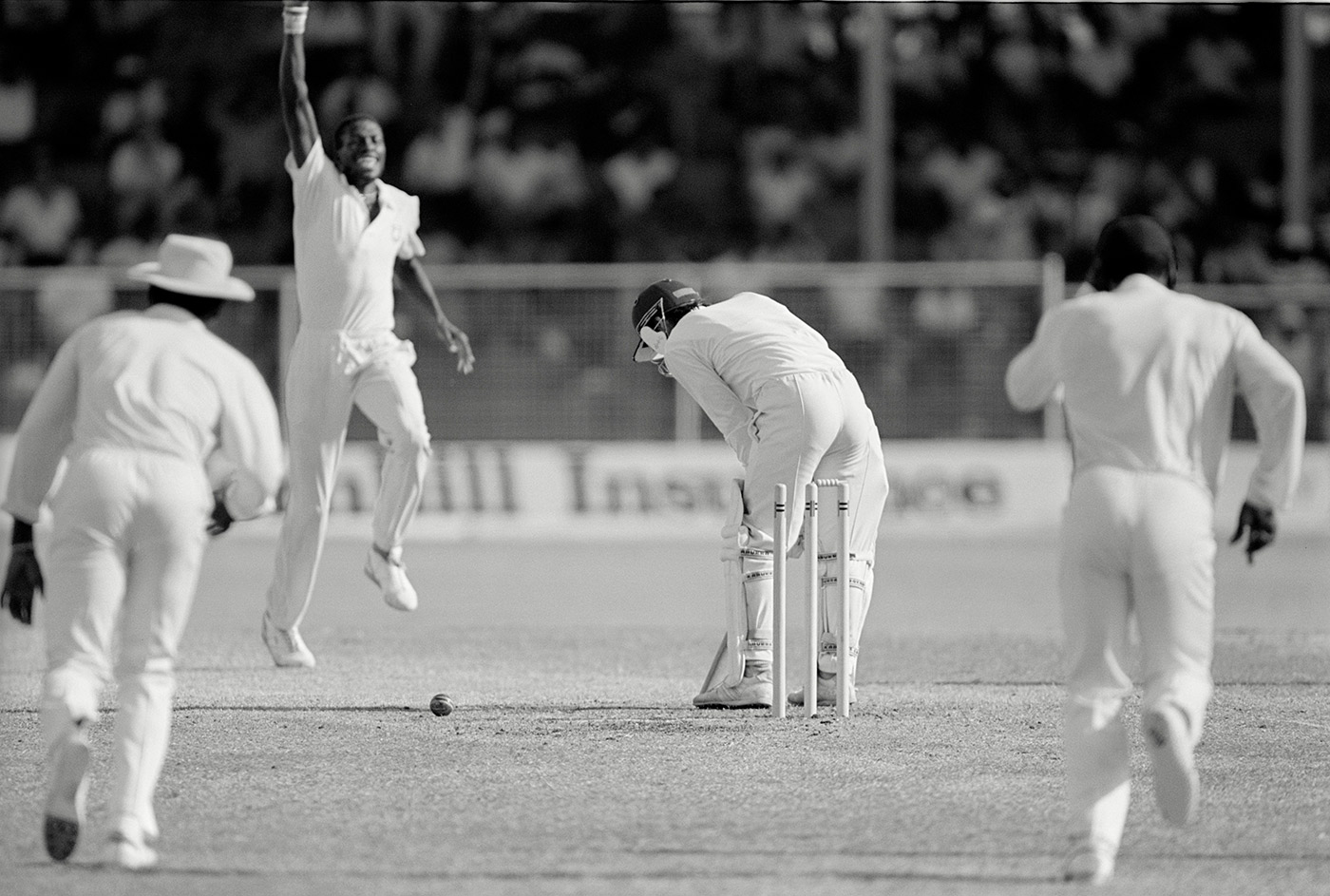 Curtly Ambrose bowls Jack Russell
