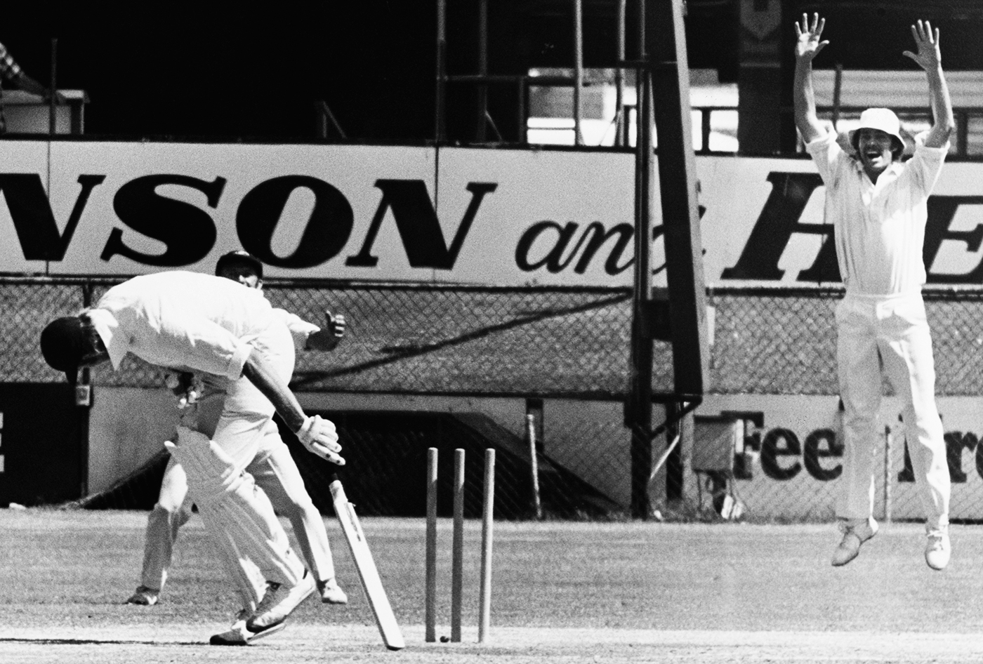 Facing Thommo was bad for your femurs, as Tony Greig finds out here in Brisbane in 1974