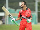 Cameron Valente exults after getting to his century off 138 balls while batting at No. 7, South Australia v Cricket Australia XI, JLT One-day Cup, September 27, 2017