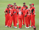 Nick Winter celebrates the wicket of Max Bryant with his team-mates, South Australia v Cricket Australia XI, JLT One-day Cup, September 27, 2017