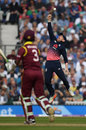 Eoin Morgan just failed to hold a sharp chance above his head, England v West Indies, 4th ODI, The Oval, September 27, 2017