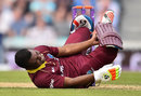 Evin Lewis was left in pain by a delivery that hit him on the boot, England v West Indies, 4th ODI, The Oval, September 27, 2017