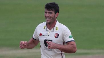 Grant Stewart celebrates a wicket