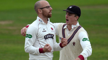Jack Leach gets a hug from his captain, Tom Abell