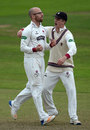 Jack Leach gets a hug from his captain, Tom Abell, Somerset v Middlesex, Specsavers Championship Division One, Taunton, September 27, 2017