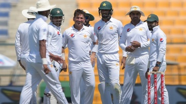 Yasir Shah celebrates after taking his second wicket