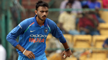 Axar Patel begins his run-up