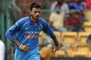 Axar Patel begins his run-up, India v Australia, 4th ODI, Bengaluru, September 28, 2017