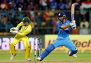 Ajinkya Rahane is all dancing feet as he nails a square-cut, India v Australia, 4th ODI, Bengaluru, September 28, 2017