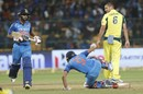 Manish Pandey falls over after completing a stroke, India v Australia, 4th ODI, Bengaluru, September 28, 2017