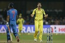 Kane Richardson celebrates the wicket of MS Dhoni, India v Australia, 4th ODI, Bengaluru, September 28, 2017