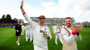 Marcus Trescothick salutes the crowd after Somerset secured Division One status