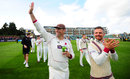 Marcus Trescothick salutes the crowd after Somerset secured Division One status, Tom Abell, Somerset v Middlesex, Specsavers Championship Division One, Taunton, September 28, 2017