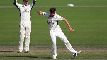 Ed Barnard celebrates a wicket