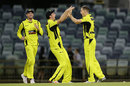 Jason Behrendorff celebrates with Mitchell Marsh after dismissing Mickey Edwards to win the game, Western Australia v New South Wales, JLT One-Day Cup, Perth, September 29, 2017