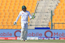Azhar Ali raises his bat after his fifty, Pakistan v Sri Lanka, 1st Test, Abu Dhabi, 3rd day, September 30, 2017