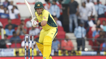 Aaron Finch prepares to drive