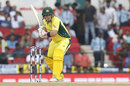 Aaron Finch prepares to drive, India v Australia, 5th ODI, Nagpur, October 1, 2017