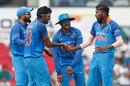 Hardik Pandya celebrates with his team-mates after dismissing Aaron Finch, India v Australia, 5th ODI, Nagpur, October 1, 2017
