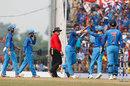 Axar Patel celebrates after dismissing David Warner for 53, India v Australia, 5th ODI, Nagpur, October 1, 2017