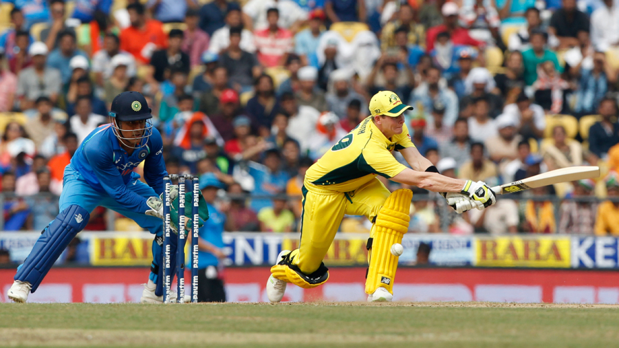 Steven Smith was lbw trying to sweep Kedar Jadhav