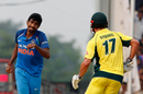 Jasprit Bumrah exults after dismissing Marcus Stoinis, India v Australia, 5th ODI, Nagpur, October 1, 2017
