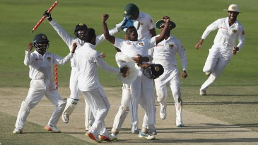 Sri Lanka players celebrate their remarkable win