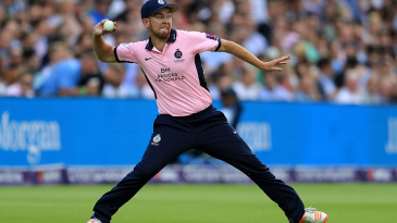 Middlesex's Ryan Higgins fields in the London derby