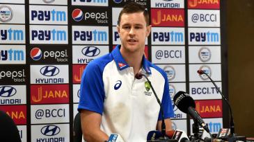 Jason Behrendorff at a press conference