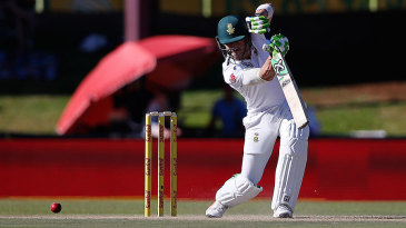 Faf du Plessis drives through the off side