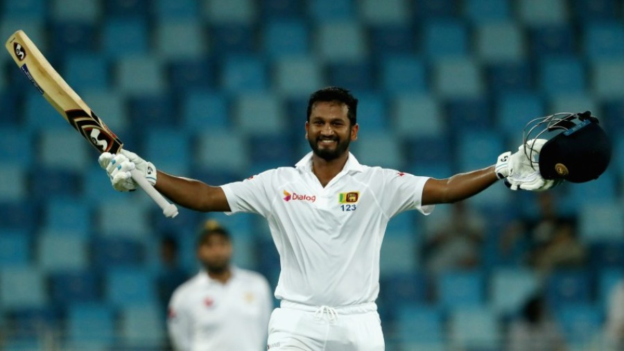 Dimuth Karunaratne celebrates his seventh Test hundred
