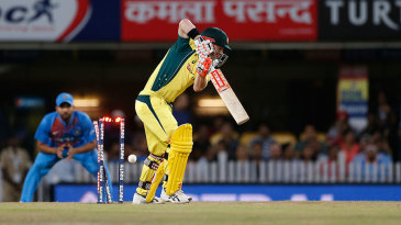 David Warner was castled by Bhuvneshwar Kumar
