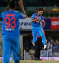Kuldeep Yadav celebrates after dismissing Aaron Finch, India v Australia, 1st T20I, Ranchi, October 7, 2017
