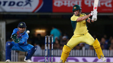 Aaron Finch steers the ball into the off side