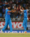 Jasprit Bumrah celebrates the wicket of Nathan Coulter-Nile with Yuzvendra Chahal, India v Australia, 1st T20I, Ranchi, October 7, 2017