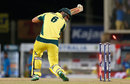 Nathan Coulter-Nile watches the ball crash into the stumps, India v Australia, 1st T20I, Ranchi, October 7, 2017