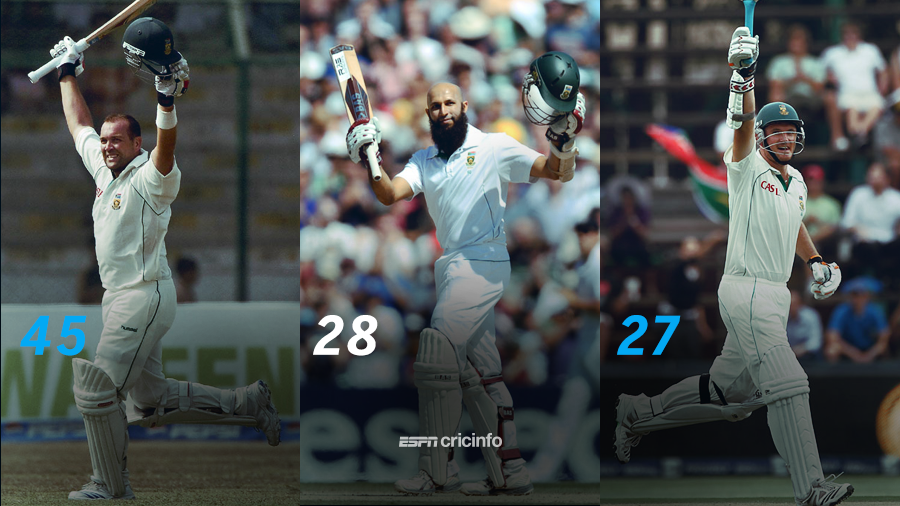 Hashim Amla hit his 28th Test hundred, in Bloemfontein