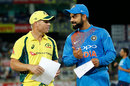 Virat Kohli chats with Australia's stand-in captain David Warner, India v Australia, 1st T20, Ranchi, October 7, 2017