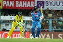 Hardik Pandya nudges the ball down the ground, India v Australia, 2nd T20I, Guwahati, October 10, 2017
