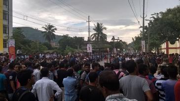 Fans gather outside the Guwahati stadium on the eve of the India-Australia T20I