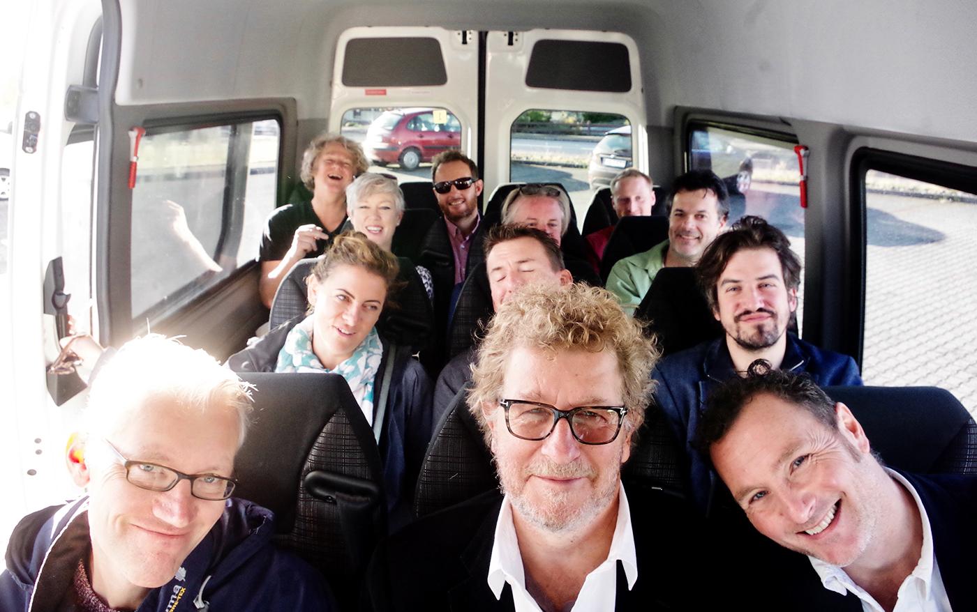The Authors XI in Iceland: (From the back, left) John Sutton, Nicholas Hogg, Tom Eadon, Sadie Holland, Matt Thacker, Steve Cannane, Laura