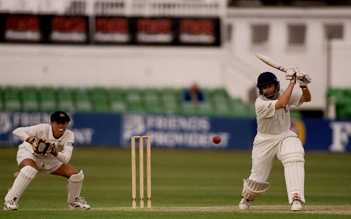 The mighty Jan Brittin bats on day one of the third Test. She finished the series with 450 runs at 112.50