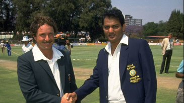 Dave Houghton and Mohammad Azharuddin at the toss for Zimbabwe's maiden Test