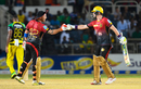 Brendon McCullum and Colin Munro bump gloves, Jamaica Tallawahs v Trinbago Knight Riders, CPL 2017, Kingston, August 26, 2017