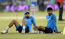 Bhuvneshwar Kumar and Jasprit Bumrah wait for proceedings to begin, India v Australia, 3rd T20I, Hyderabad, October 13, 2017