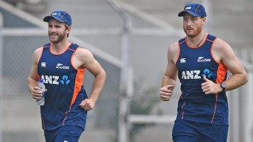 Kane Williamson and Martin Guptill go through fitness drills